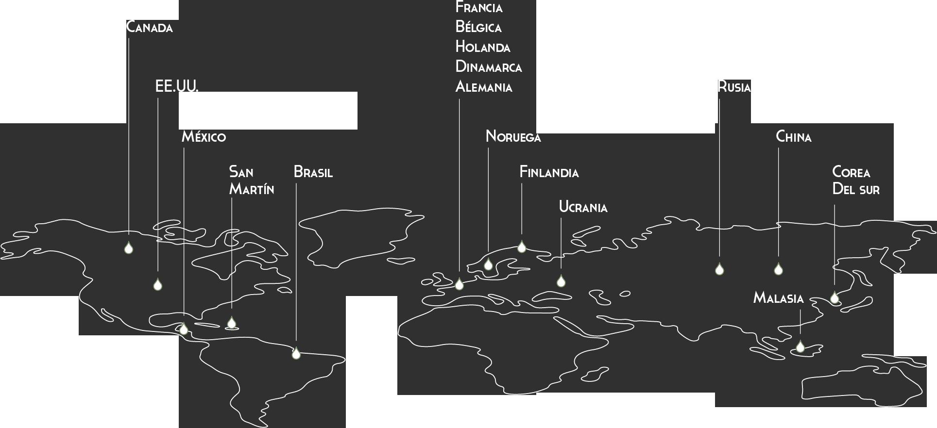 Países a los que se exporta vino Valdrinal